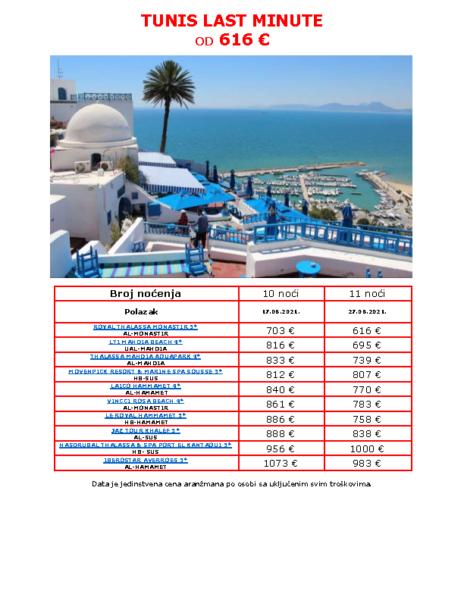 TUNIS LAST MINUTE 28.07.2021